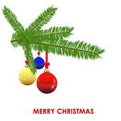 Colorful Christmas Ball Hanging on Pine Tree — Stock Vector