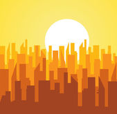Big City at Sunset — Stock Vector