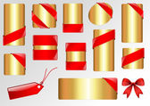 Red Ribbon Corner Golden Template — Stock Vector