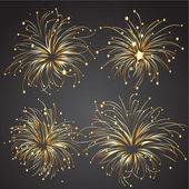 Set of Golden Fireworks — Stock Vector