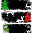 Grunge Christmas Tree Banners — Stock Vector