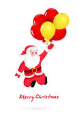 Santa Flying with Balloons — Stock Vector