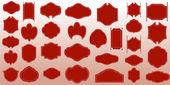 Rote vintage labels-auflistung — Stockvektor
