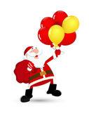 Happy Santa Catching Balloons — Stock Vector
