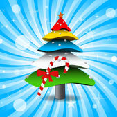 Colorful 3D Christmas Tree — Stock Vector