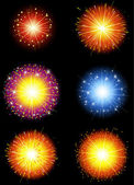 Set of Colorful Fireworks — Stock Vector