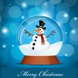 Snowman in Glass Ball — Stock Vector