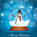 Snowman in Glass Ball — Stock Vector