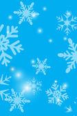 Snöflingor blå bakgrund — Stockvektor