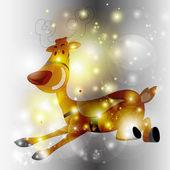 Running Reindeer Sparkle Background — Stock Vector