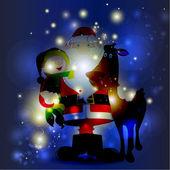 Santa Family in Decorative Background — Stock Vector