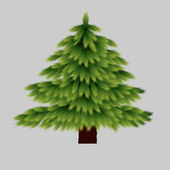 Christmas Tree Isolated on Grey Background — Stock Vector