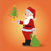 Santa Holding a Christmas Tree — Stock Vector