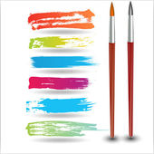 Colorful Strokes with Painting Brush — Stock Vector