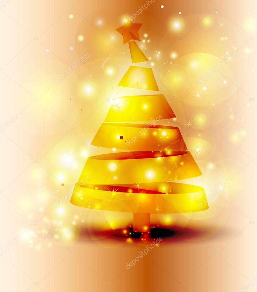 Rbol de navidad dorado brillo fondo vector de stock - Arbol navidad dorado ...
