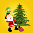 Santa Decorating Christmas Tree - Stockvektor