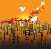 Birds Sitting on Flower Branch — Stock Vector