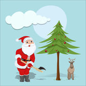 Santa Holding an Ax for Christmas Tree — Stock Vector