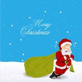 Angry Santa Dragging Gift Bag — Stock Vector