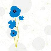 青いベクター ポピーの花 — ストックベクタ