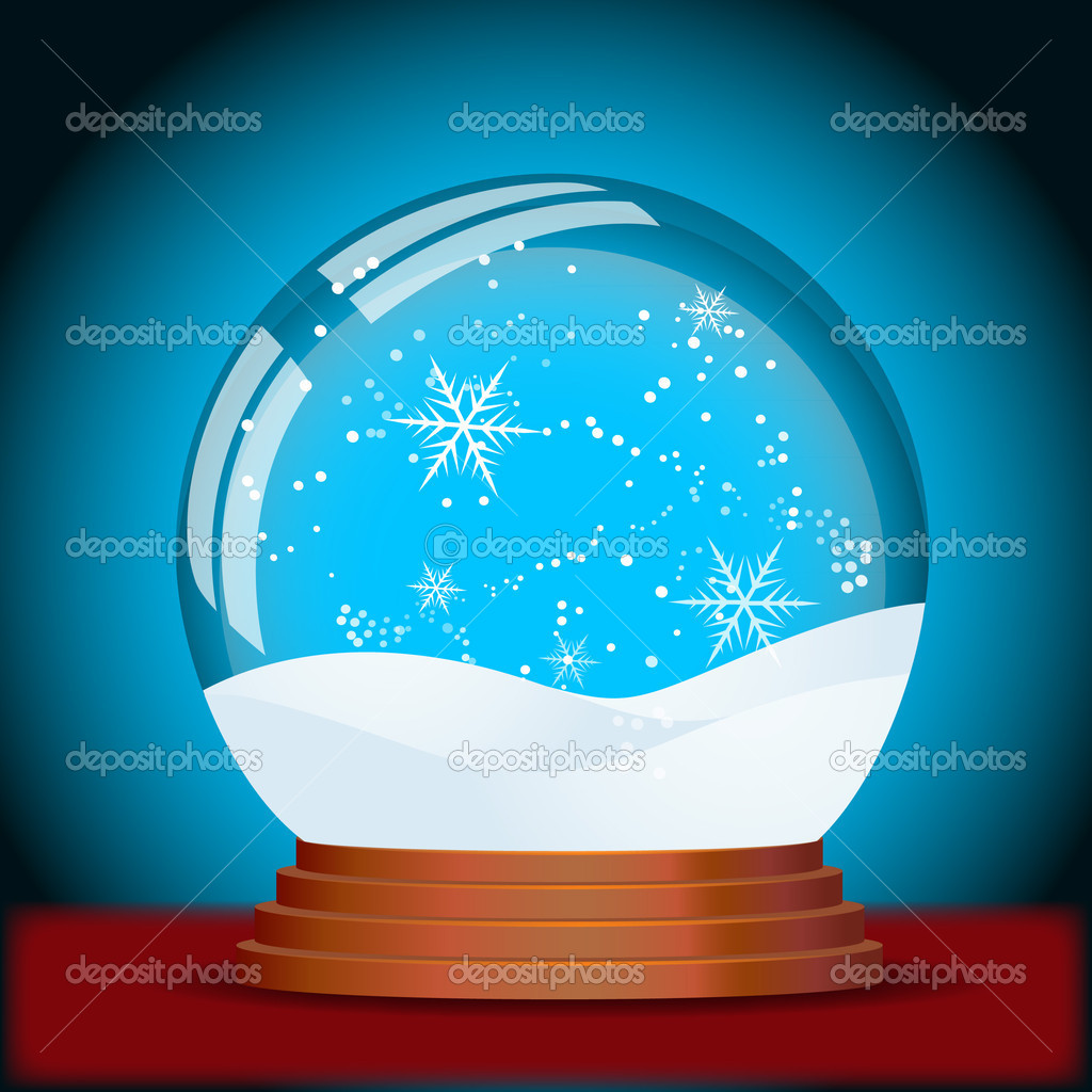Abstract Decor Design of Vector Christmas Snow Globe — Stock Vector #8248498
