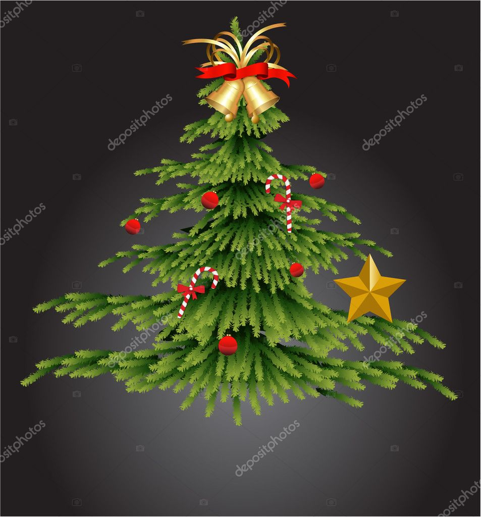 Beautiful Abstract Decor Design of Christmas Tree with Golden Bell — Stock Vector #8248941