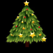 árbol de navidad decorado con estrellas y bolas — Vector de stock