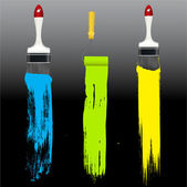Paint Strokes with Painting Equipments — Stock Vector