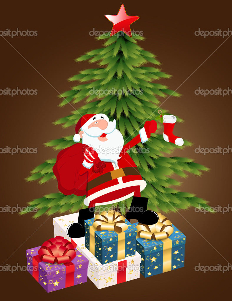 Creative Abstract Decorative Conceptual Art of Christmas Tree with Santa Gifts — Stock Vector #8252673