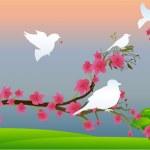 Birds on Flower Branch — Stock Vector #8279721