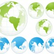 Stock Vector: Set of Globe Earth
