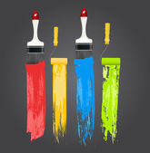 Illustration of Paint Strokes with Brushes — Stock Vector