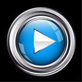 蓝色金属播放按钮 — 图库矢量图片