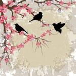 Birds on Spring Flower Branch — Stock Vector #8286721