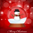 Christmas Snow Globe with Snowman — Stock Vector