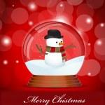 Christmas Snow Globe with Snowman — Stock Vector