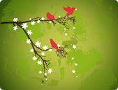 Birds on Flowering Branch — Stock Vector