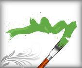 Skok zielony obraz pędzla — Wektor stockowy