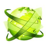 стеклянный стрелку вокруг зеленая земля — Cтоковый вектор