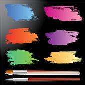 Voorbeeld van de penseelstreken met schilderij borstel — Stockvector