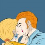 Pop Art Kissing Couple — Stock Vector