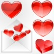 Glossy Hearts with Envelope — Stock Vector