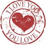 Grunge Valentine Rubber Stamp — Stock Vector