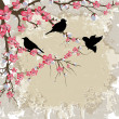 Spring Flower Branch with Birds — Stock Vector