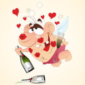 Drunk Cupid — Stock Vector