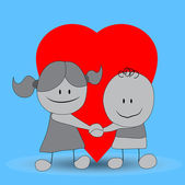 Cute Cartoon Couple — Vector de stock