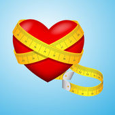 Heart with Measuring Tape — Stock Vector