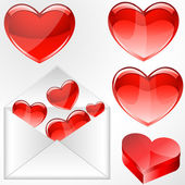 Glossy Hearts with Envelope — Vector de stock
