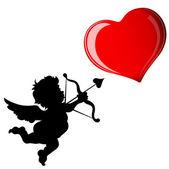Cupid Target Heart — Stock Vector