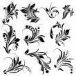 Black Floral Elements - Stock Vector
